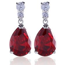 Pear Cut Red Garnet White Sapphire 18K White Gold Filled Jewlery Dangle Earrings