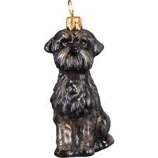 Affenpinscher Sitting Dog Blown Glass Polish Christmas Ornament Decoration