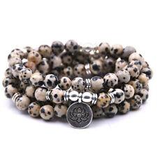 6mm Spotted Stone 108 Beads Lotus Pendant Bracelet Healing Unisex Buddhism