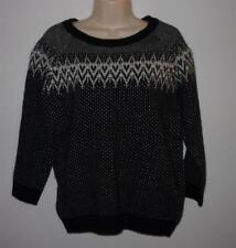 NEW Willi Smith Black White Nordic Lambswool Sweater Size M NWT 3/4 Sleeve