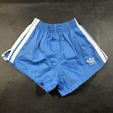 Vintage Adidas Trefoil Boys Youth L 28-30 Light Blue Running Shorts White Stripe