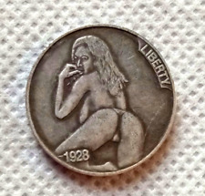 New Hobo Nickel Woman Sexy Pose Skull Skeleton Buffalo Carved US Casted Coin