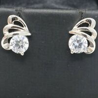 Vintage Moissanite Stud Earring Women Wedding Jewelry 14K White Gold Plated