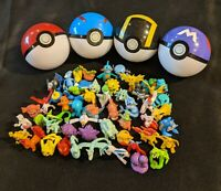 4 Pack of Pokeballs with Small Pokemon Figures Inside - Ships Fast + Free Gift !