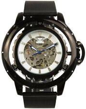 Minoir Uhren - Modell Loury schwarz mit Kronenschutzbügel - XL Herrenuhr