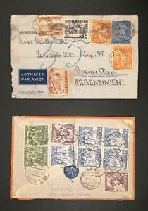 Poland 2 nice airmail covers1938 and 1939, sendt to Argentina