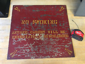 Vintage No Smoking Factory Sign 18x17 Discharged Hand Painted Double Sided Red