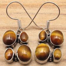 ! Silver Plated Fancy Jewelry Unusual Tiger'S Eye 4 Real Gemstone Brown Earrings