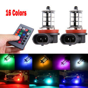 16Color RGB H8 H9 H11 LED Bulbs w/ Wireless IR Remote For Fog Light Driving Lamp
