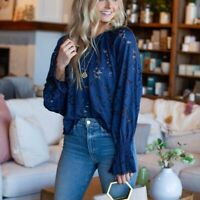 FREE PEOPLE Olivia Lace Tee M Medium Top Blouse Balloon Sleeve Navy Blue Sheer