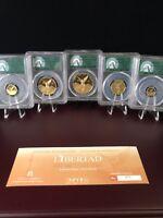2018 Mexico 5-Coin Gold Libertad Set PR-70 PCGS (Green Label) with Box & COA