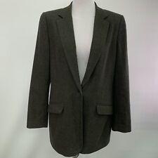 Lands End Womens Blazer Jacket Size 12 Tall Green Wool Cashmere Blend