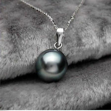 New 14mm Beautiful Black Shell Pearl Pendant Necklace 17'' AAA+