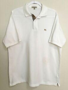Men's Burberry White Hartford Nova Check Polo Shirt Size M