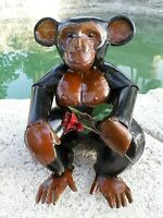 """Recycled Rustic Metal Yard Garden Art Monkey Chimp with Rose Figure 13"""""""