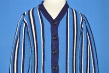 vtg 70s BLUE WHITE STRIPED CARDIGAN ACRYLIC BUTTON FRONT sweater BABY 18-24 M