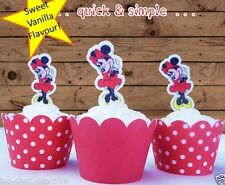 #566. Minnie Mouse plain red dress edible wafer cupcake cake toppers
