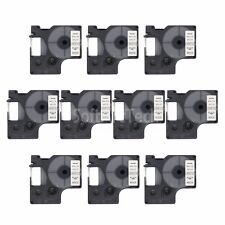 """10pk Black on White Label Tape Compatible for DYMO 40913 D1 9mm 3/8"""""""