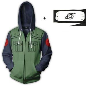 Naruto Kakashi Costume Hoodie Jacket Sweatshirt Set with Leaf Village