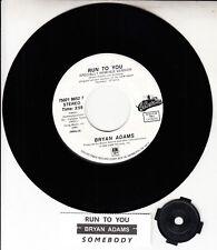 "BRYAN ADAMS  Run To You & Somebody 7"" 45 rpm record NEW + juke box title strip"