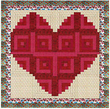 Ezy Quilt Kit/Valentine Log cabin Heart/Beautiful/Pre-cut Fabrics Ready To Sew