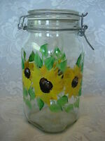 Unusual Hand Painted Sunflowers Glass Apothecary Jar / Canister - Made in Italy