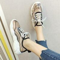 Womens Clear Lace Up Sneakers Sports Casual Transparent Running Shoes Haihk