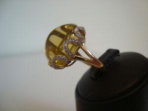 Designer Ring Gold 585 mit 50 Diamanten und großem Citrin