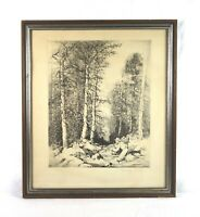 Vintage Mildred Bryant Brooks Man Fly Fishing Scene Pencil Signed Etching Print