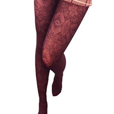 Fishnet Party Vintage Ladies Hosiery Glamour Womens 80d Lace Pantyhose Maroon One Size Regular