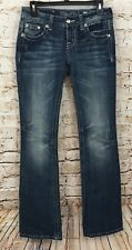 MISS ME Jeans womens 26 x 34 Boot Cut Mid Rise Leather cross goth stretch B4