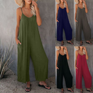 Women Loose Jumpsuit Overalls Wide Leg Pants Playsuit Holidays Baggy Trousers