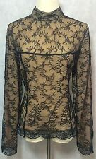 Moda International By Victoria Secret Black Nude Lace Victorian Style Top SZ L