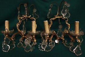 2 appliques coppia da muro parete a candelabro a due luci con gocce in vetro