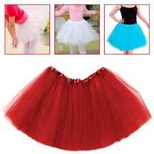 Tutu Elastico de Tul 3 capas Falda Disfraz Ballet para Niñas Bebes Cosplay Rojo