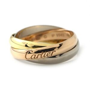 Auth Cartier Ring Trinity SM 750(18K) Tri-Color Gold #48 US4.75