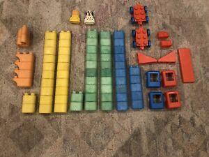 Vintage Mattel Tuff Stuff Stacking Wonder Blocks 78 Piece Lot