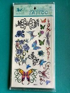 ADULT TEMPORARY TATTOOS SHEET BUTTERFLY & ROSE HM051