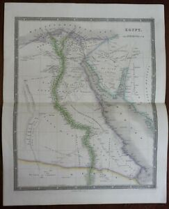 Egypt Cairo Alexandria Suez Red Sea Nile River Great Oases 1842 Dower map