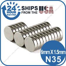 100PC 6 x 1.5mm Neodymium Disc Super Strong Rare Earth N35 Small Fridge Magnets