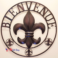 Metal Circle Bienvenue Fleur De Lis Home Garden Yard Sign Fdl D?cor