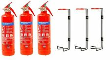 3 x 1 KG DRY POWDER FIRE EXTINGUISHER HOME OFFICE CAR KITCHEN + WALL BRACKET.CE