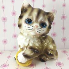 Brown White Tabby Cat Kitten Blue Eyes Yellow Ball Vintage Ceramic Figurine JPN