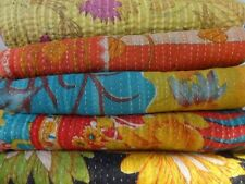 Indian Vintage  Kantha Quilt Reversible Throw Handmade Coverlets Bedspread
