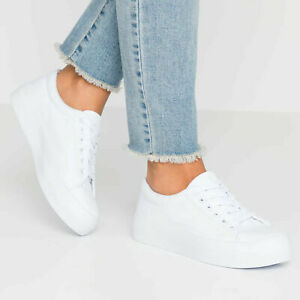 EX New Look Ladies Womens Plain White Trainers Pumps Lace-Up Size 4 5 6 7