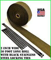 "Thermal Header Pipe Tape Titanium Lava Exhaust Wrap 2""x 50ft Black Ties Kit"