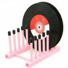 "Desktop Vinyl Record Storage 6-Album Display Holder Tabletop 12""or 7"" Stand Pink"