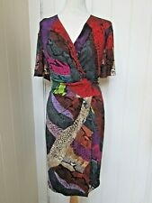 JUST CAVALLI UK10 multi coloured snake skin print wrap dress RRP £380