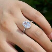 Luxury Women 925 Silver Rings Oval Cut White Sapphire Wedding Ring Jewelry Gifts