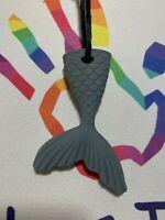 Chewelry Sensory Chews Autism ASD Necklace Chewlry ADHD SEN Mermaid Tail Grey